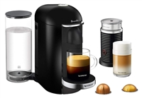 Nespresso VertuoPlus Deluxe Coffee and Espresso Machine by Breville with Aeroccino Milk Frother - Black