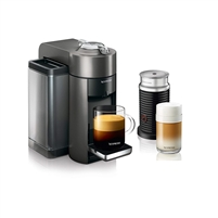 Nespresso Vertuo Evoluo Coffee and Espresso Machine with Aeroccino by De'Longhi-Silver