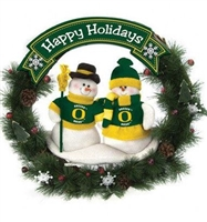 "20"" CLC Double Snowman Wreath-Oregon Ducks"