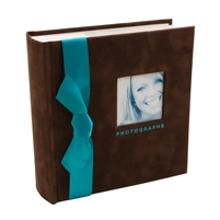 BorderTrends Chocolux 100-Pocket Faux Suede with Ribbon Photo Album, Chocolate Brown & Turquoise