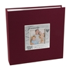 BorderTrends Deluxe Family 200-Pocket Fabric Photo Album, Burgundy