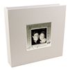 BorderTrends Deluxe Wedding 200-Pocket Fabric Photo Album, White