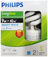 PHILIPS EnergySaver Minitwister CFL 9W Bulbs
