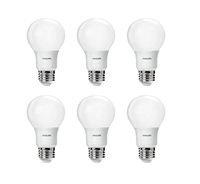 Philips LED Non-Dimmable 8.5W A19 Frosted Light Bulbs - 6pcs