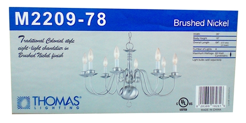 Thomas Lighting Colonial Style 8-Light Chandelier